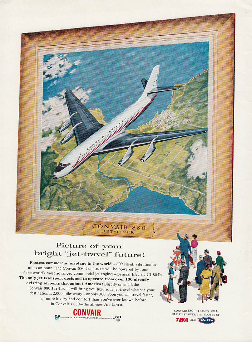 Image for Picture of your bright jet-travel future Convair 880 Jet-Liner ad 1956 AW
