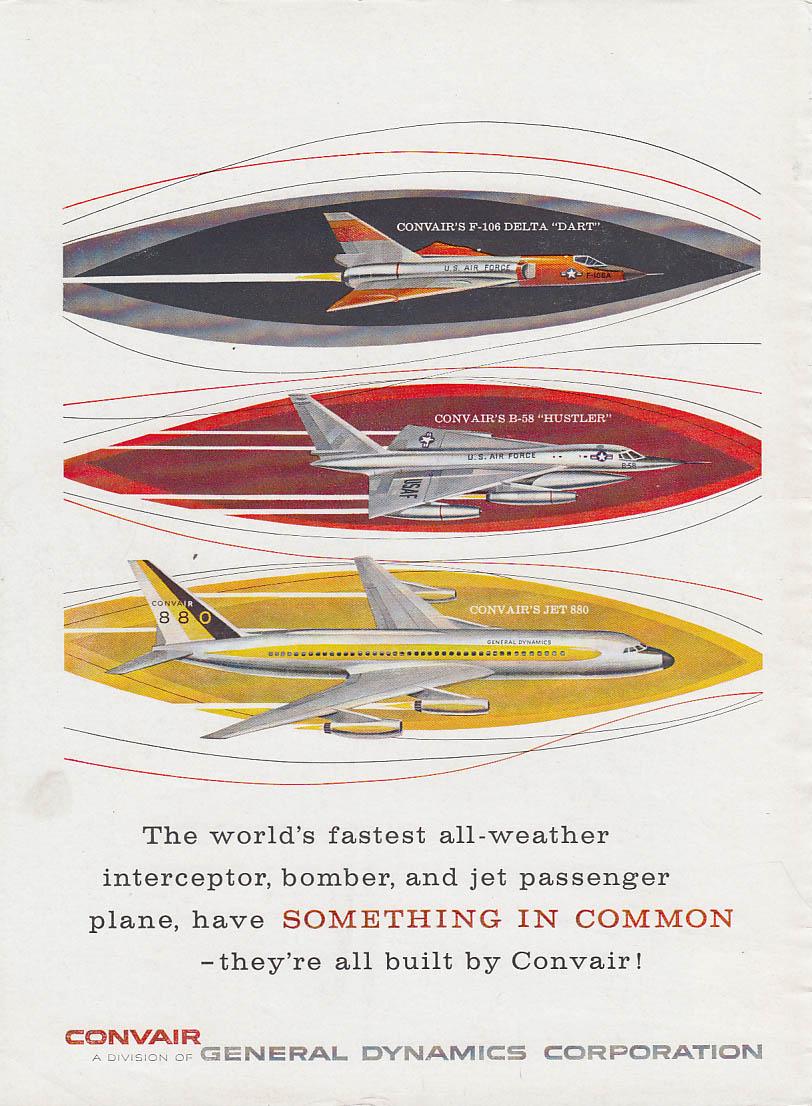 Image for World's fastest interceptor bomber & airliner Convair F-106 B-58 880 ad 1960 Nwk