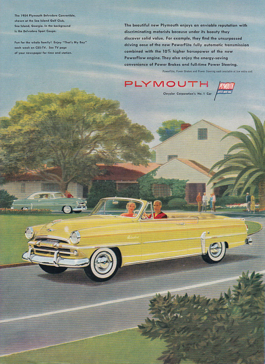 An enviable Plymouth Belvedere Convertible at Sea Island Golf Club GA ad 1954 NY
