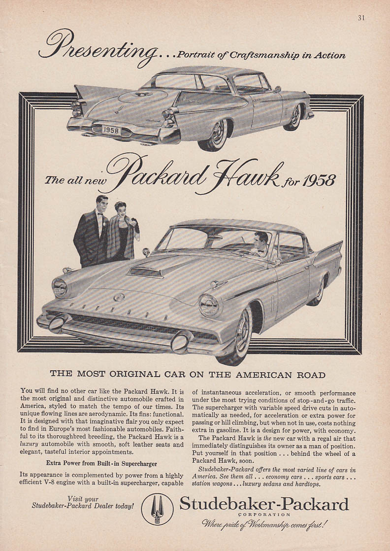 Presenting the all new Packard Hawk for 1958 ad Time or Newsweek