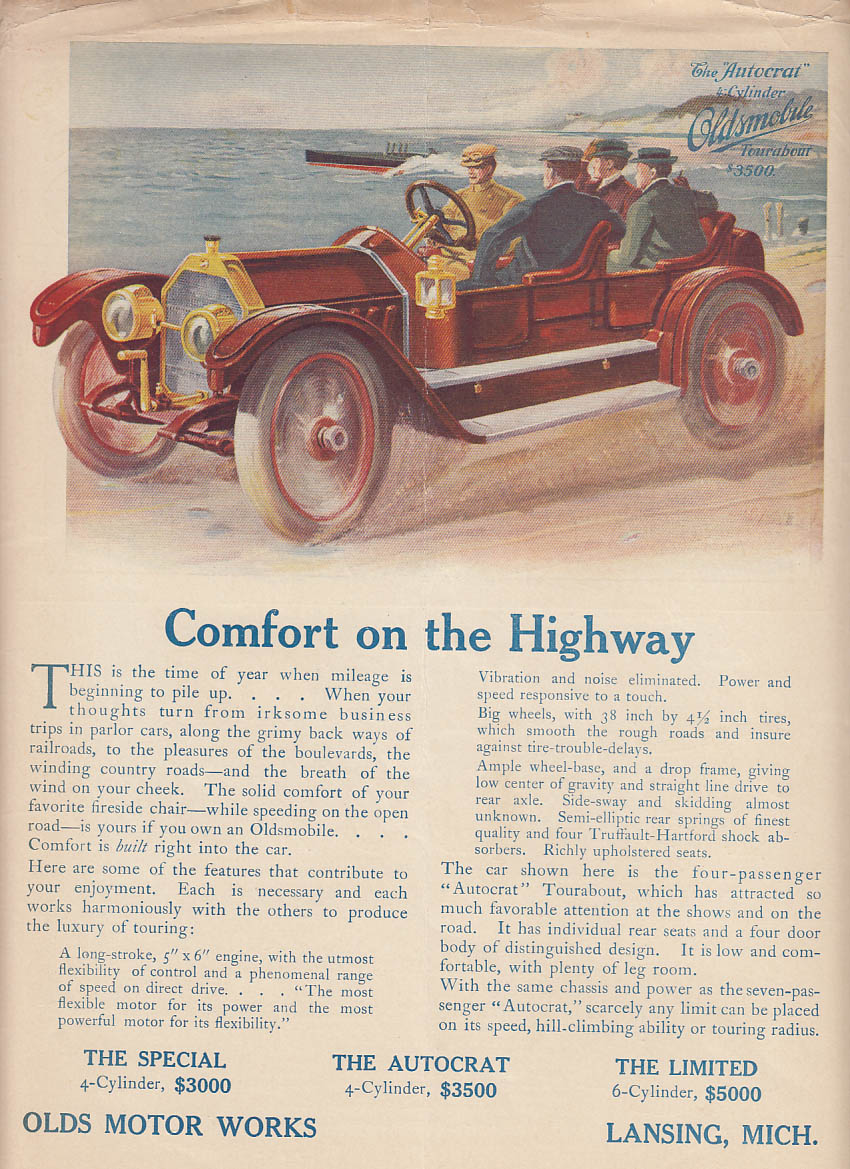 Image for Comfort on the Highway - Oldsmobile Autocrat Tourabout ad 1911 LD