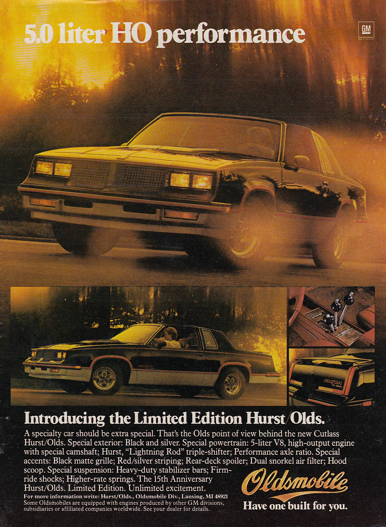 5.0 liter HO Performance - The Limited Edition Hurst Olds ad 1983 People
