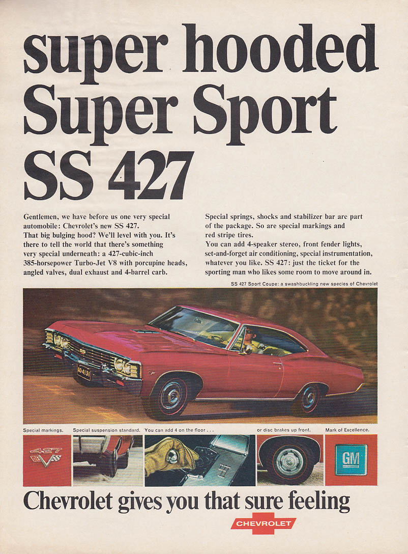 Image for Super hooded Super Sport SS 427 Chevrolet Sport Coupe ad 1967