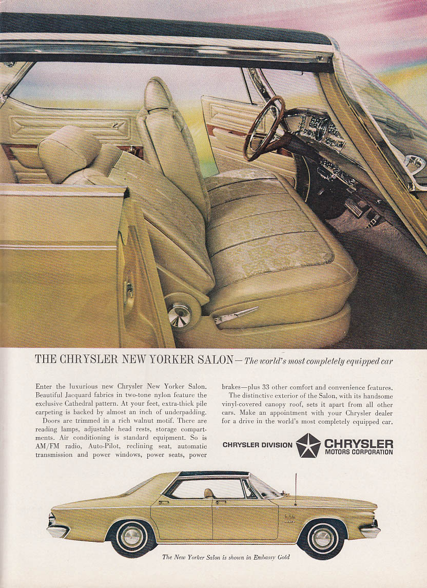 Image for World's most completely equipped car Chrysler New Yorker Salon ad 1963