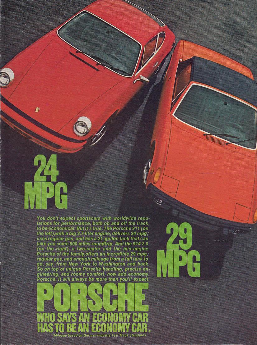 24 MPG 29 MPG Porsche 911 Porsche 914 ad 1974