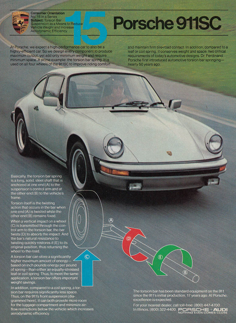 Consumer Orientation #15 The Torsion Bar - Porsche 911SC ad 1982