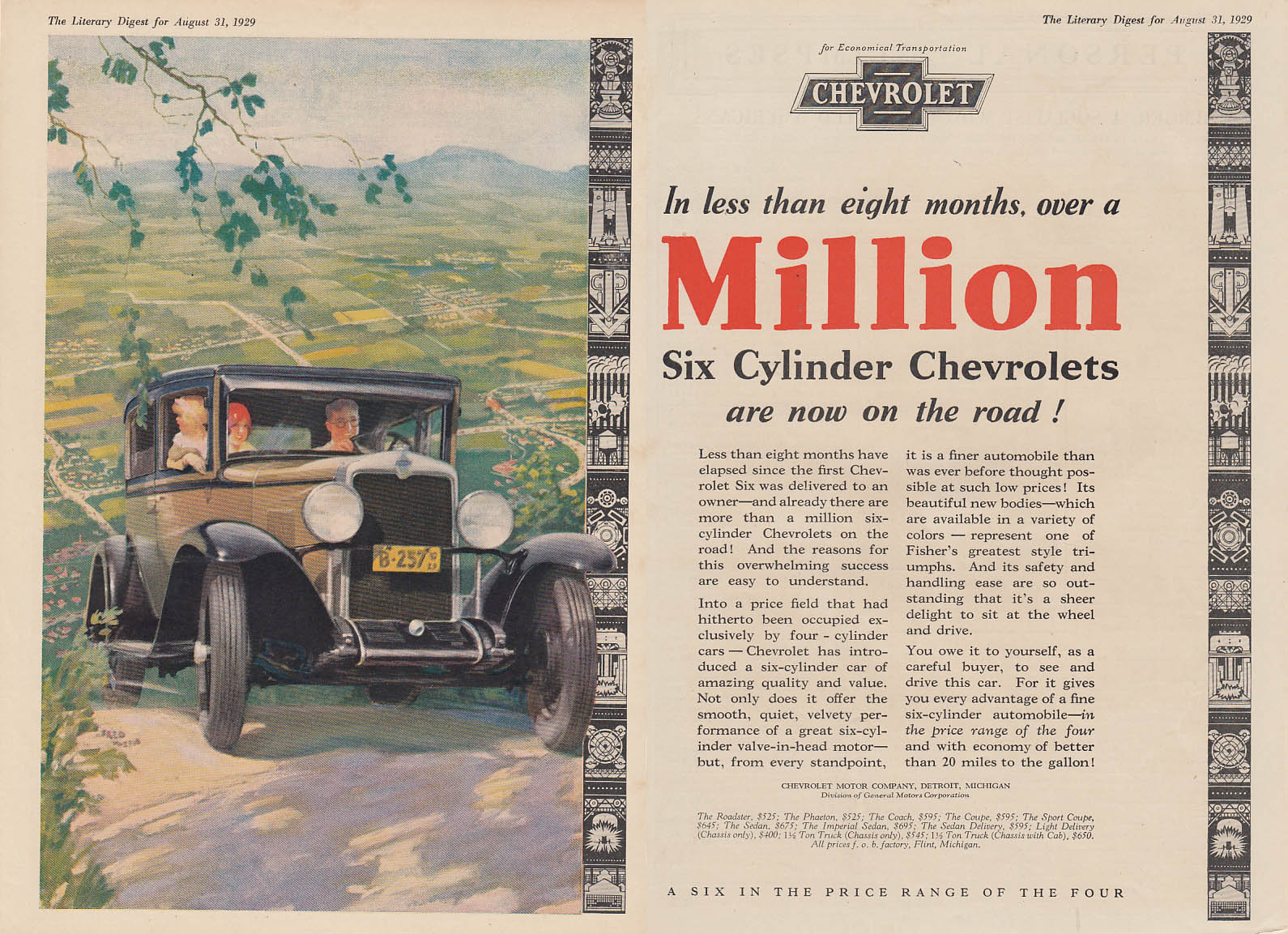 In less than eight months over a million are now on the road Chevrolet ad 1929