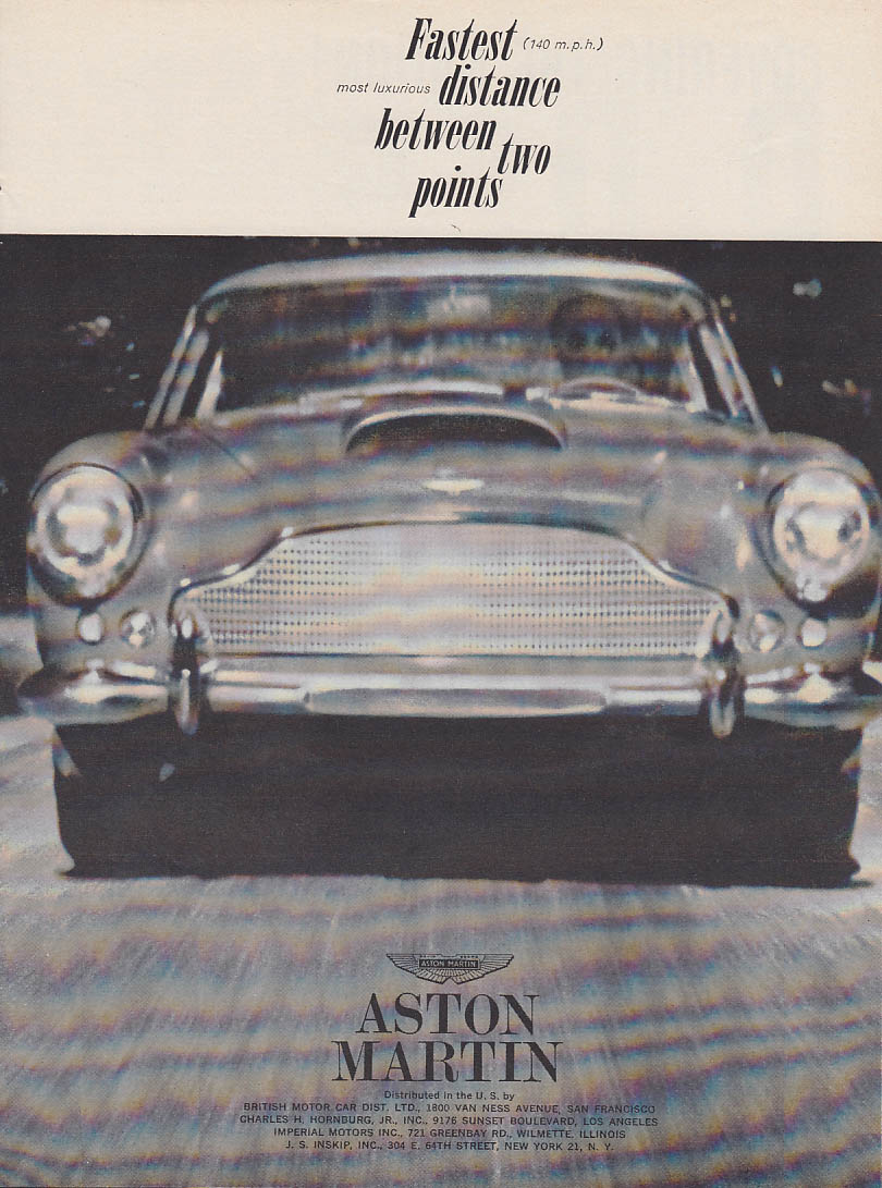 Image for Fastest distance between two points Aston Martin DB 4 ad 1961