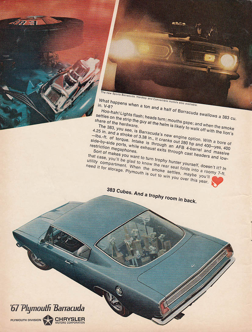 383 cubes and a trophy room in back Plymouth Barracuda ad 1967