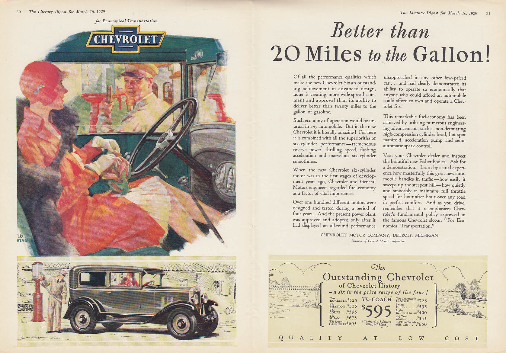 Beter than 20 Miles to the Gallon Chevrolet Six Coach ad 1929