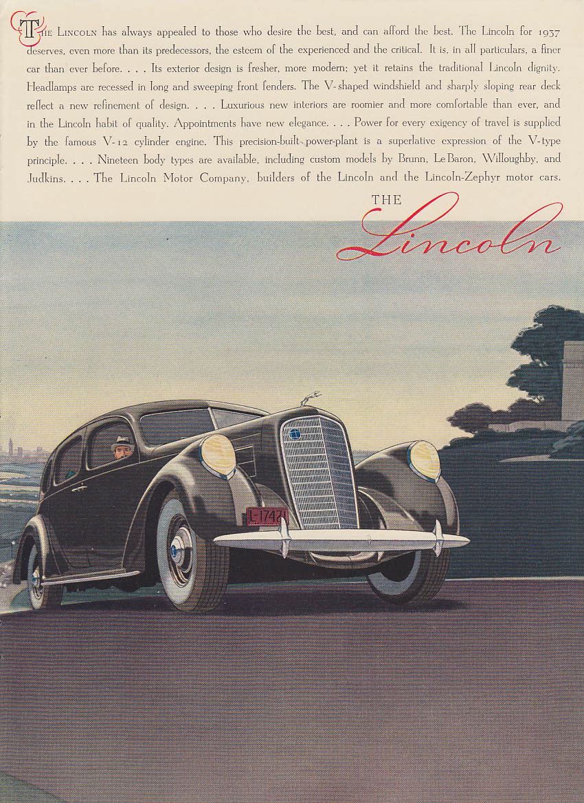 Always appealed to those who desire the best Lincoln 4-door Sedan ad 1937 NY