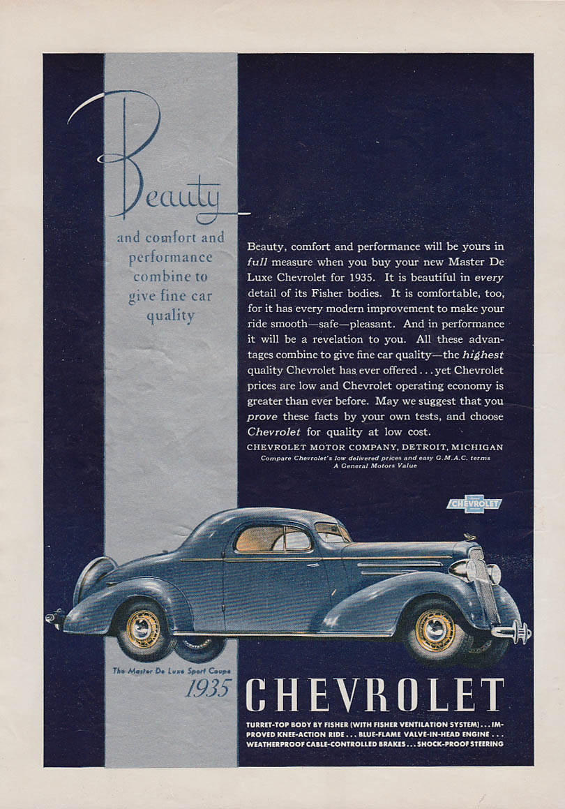 Beauty & comfort & performance Chevrolet Master De Luxe Sport Coupe ad 1935 AM