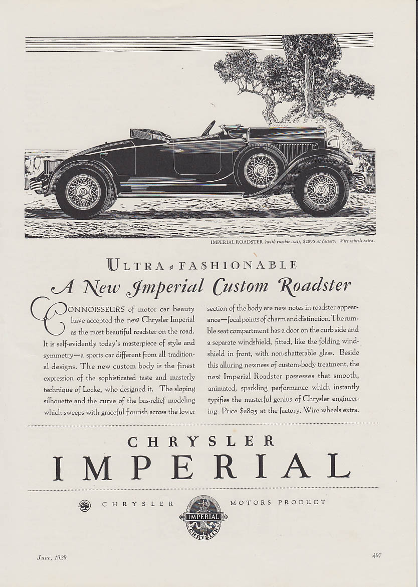 Image for Ultra-Fashionable Chrysler Imperial Custom Roadster ad 1929 Asia