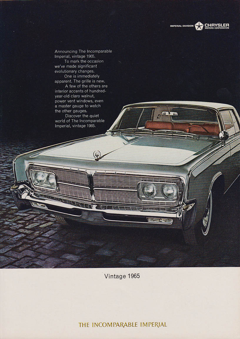 Image for Vintage 1965 - Significant evolutionary changes Imperial by Chrysler ad 1965 NY