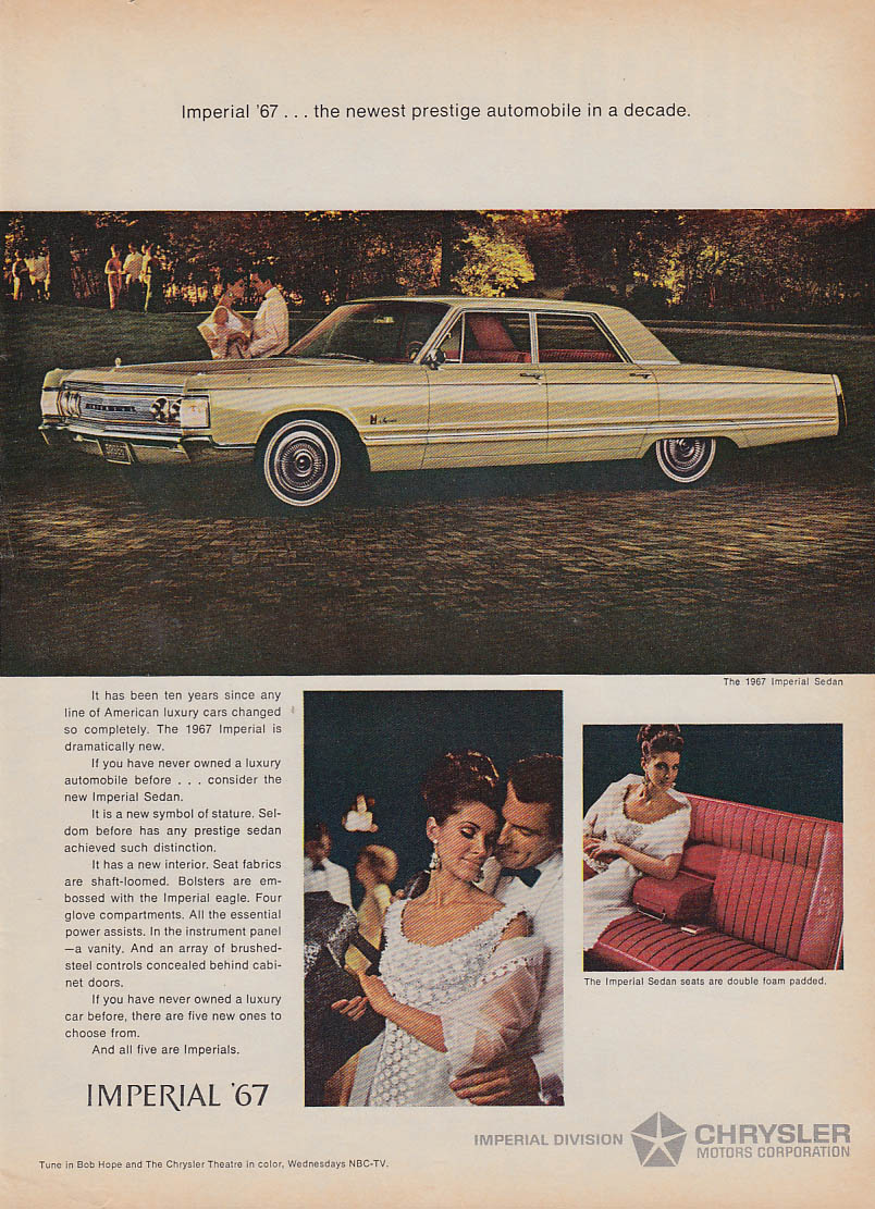 Image for Newest prestige automobile in a decade Imperial by Chrysler ad 1967 T