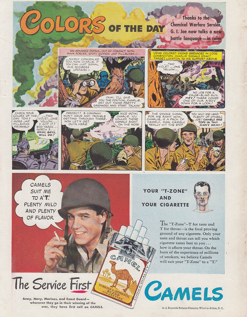 Colors of the Day - Chemical Warfare - Camel Cigarettes ad 1945 T