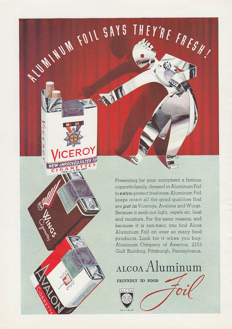 Aluminum Foil Says They're Fresh! Viceroy Wings Avalon Cigarettes Alcoa ad 1939
