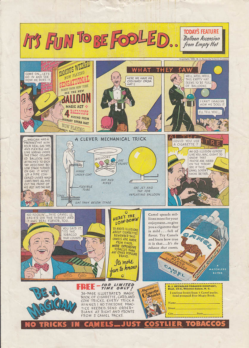 Balloon from Empty Hat - Fun to be Fooled - Camel Cigarettes ad 1933 magician