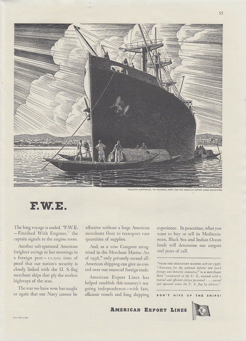 F. W. E. Finished With Engines American Export Lines ad 1946 Rockwell Kent