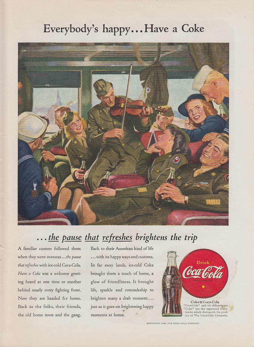 Everybody's Happy - Have a Coca-Cola ad 1946 fiddling man / woman GI troop train