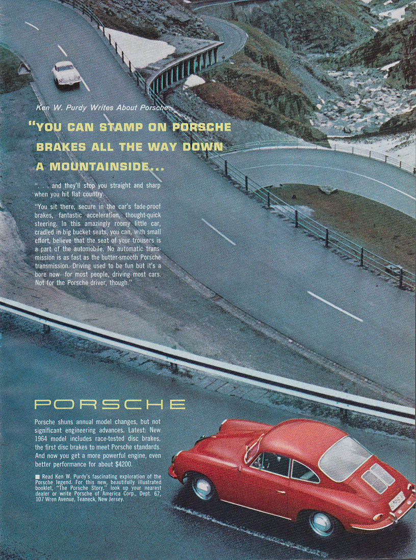 You can stamp on Porsche brakes / The Volvo 1800S $3995 ad 1964