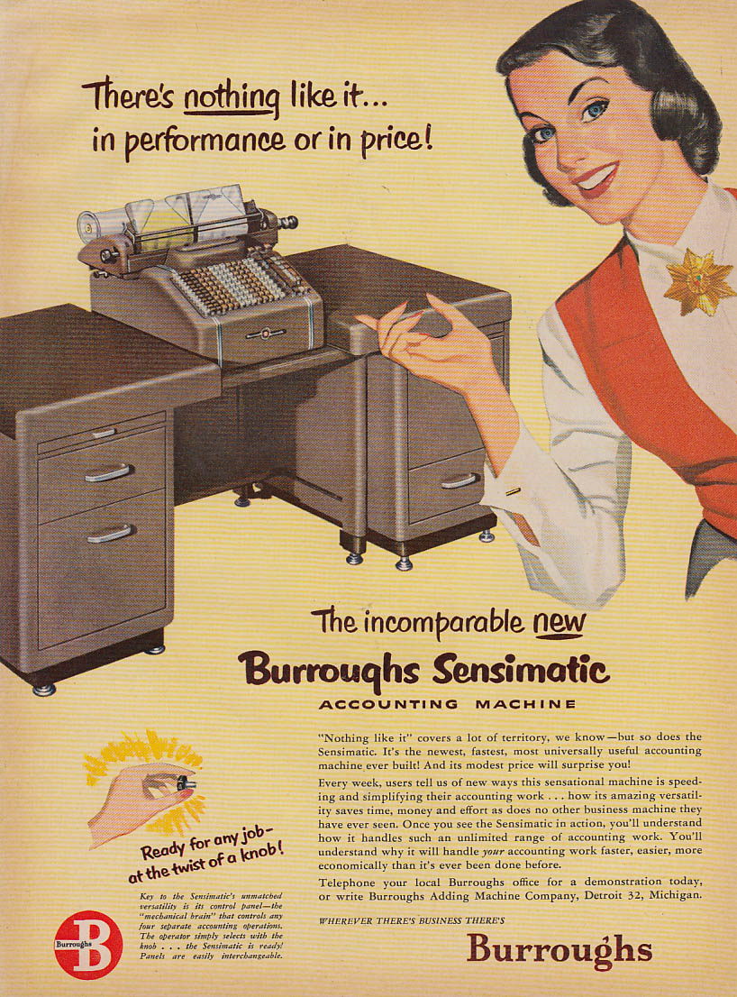 The incomparable new Burroughs Sensimatic Accounting Machine ad 1951