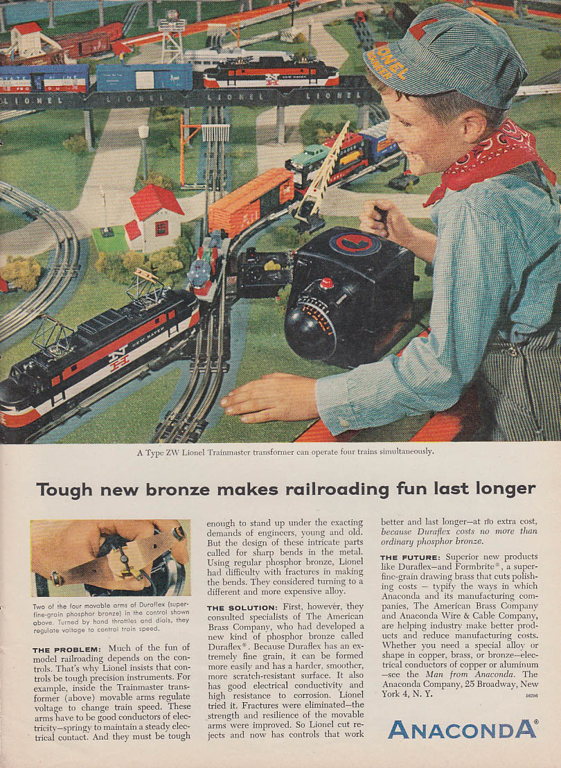 Tough new bronze makes model railroading fun Anaconda ad 1956 Lionel NH Electric