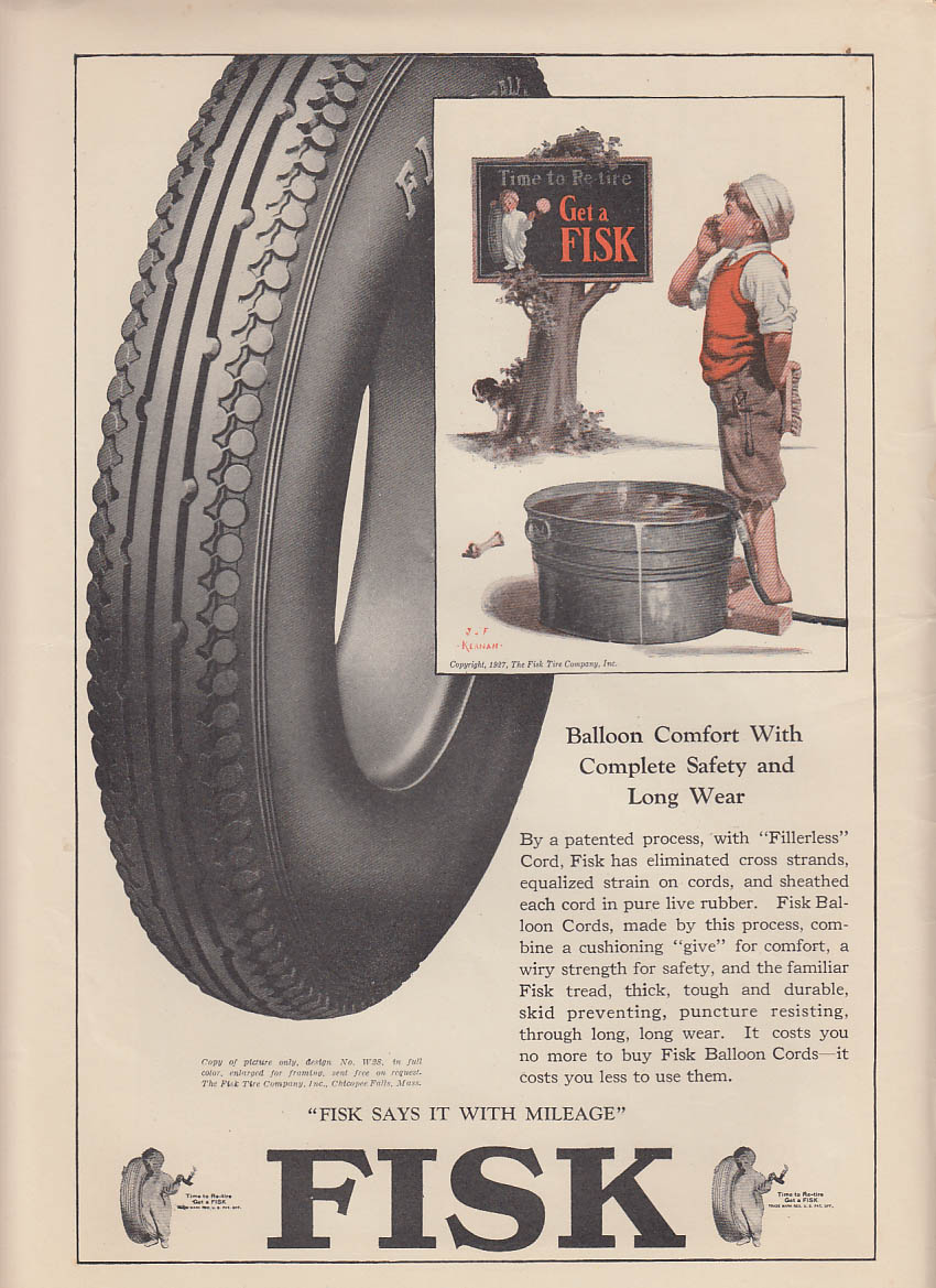 Balloon Comfort Fisk Tires ad 1927 Kernan art boy calls dog to bath LD