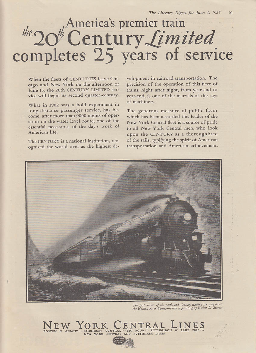 New York Central 20th Century Limited 25 Years of Service ad 1927 LD
