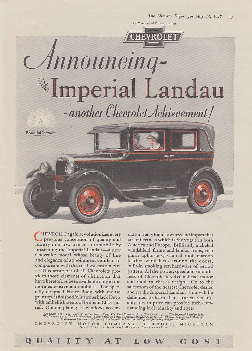 Announcing the Chevrolet Imperial Landau sedan ad 1927 LD