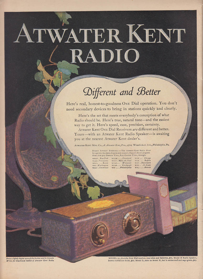 Different & Better One Dial Atwater Kent Radio ad 1927 LD