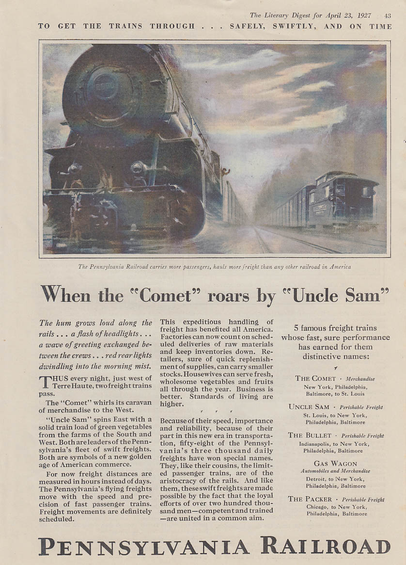 When the Comet roads by Uncle Sam Pennsylvania Railroad ad 1927 LD