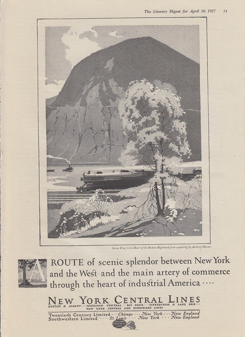 A route of scenic spendor between NY & the West New York Central ad 1927