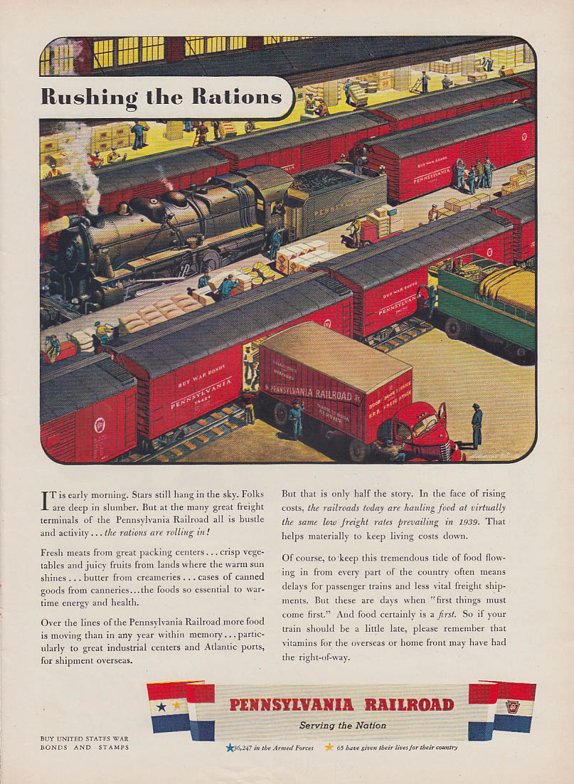 Rushing the Rations - Pennsylvania Railroad wartime ad 1943 NY