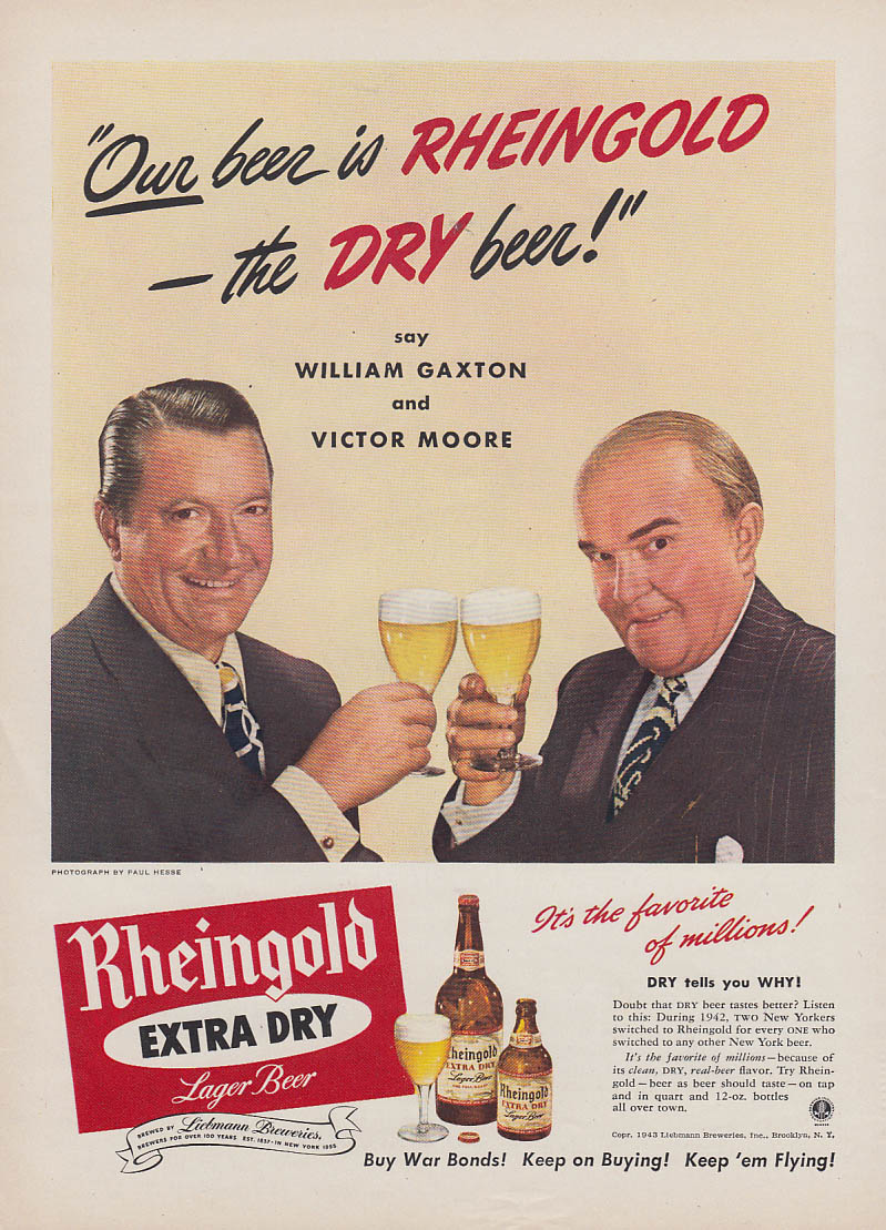 William Gaxton & Victor Moore for Rheingold Extra Dry Beer ad 1943