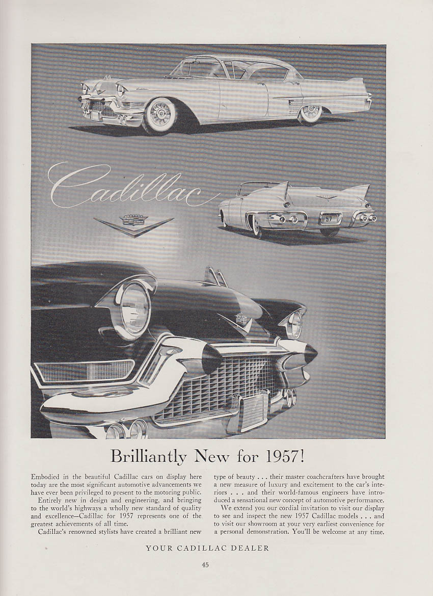 Brilliantly new for 1957! Cadillac deVille & Eldorado ad Chicago Auto Show