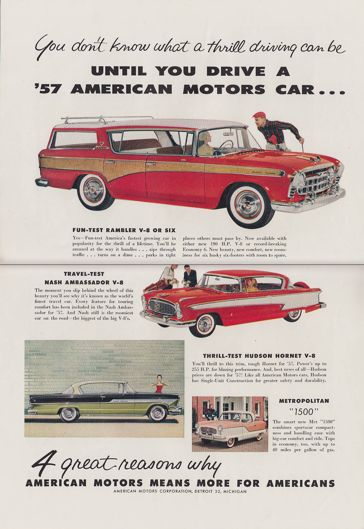 American Motors Rambler Nash Ambassador Hudson Hornet Metropolitan 1500 ad 1957