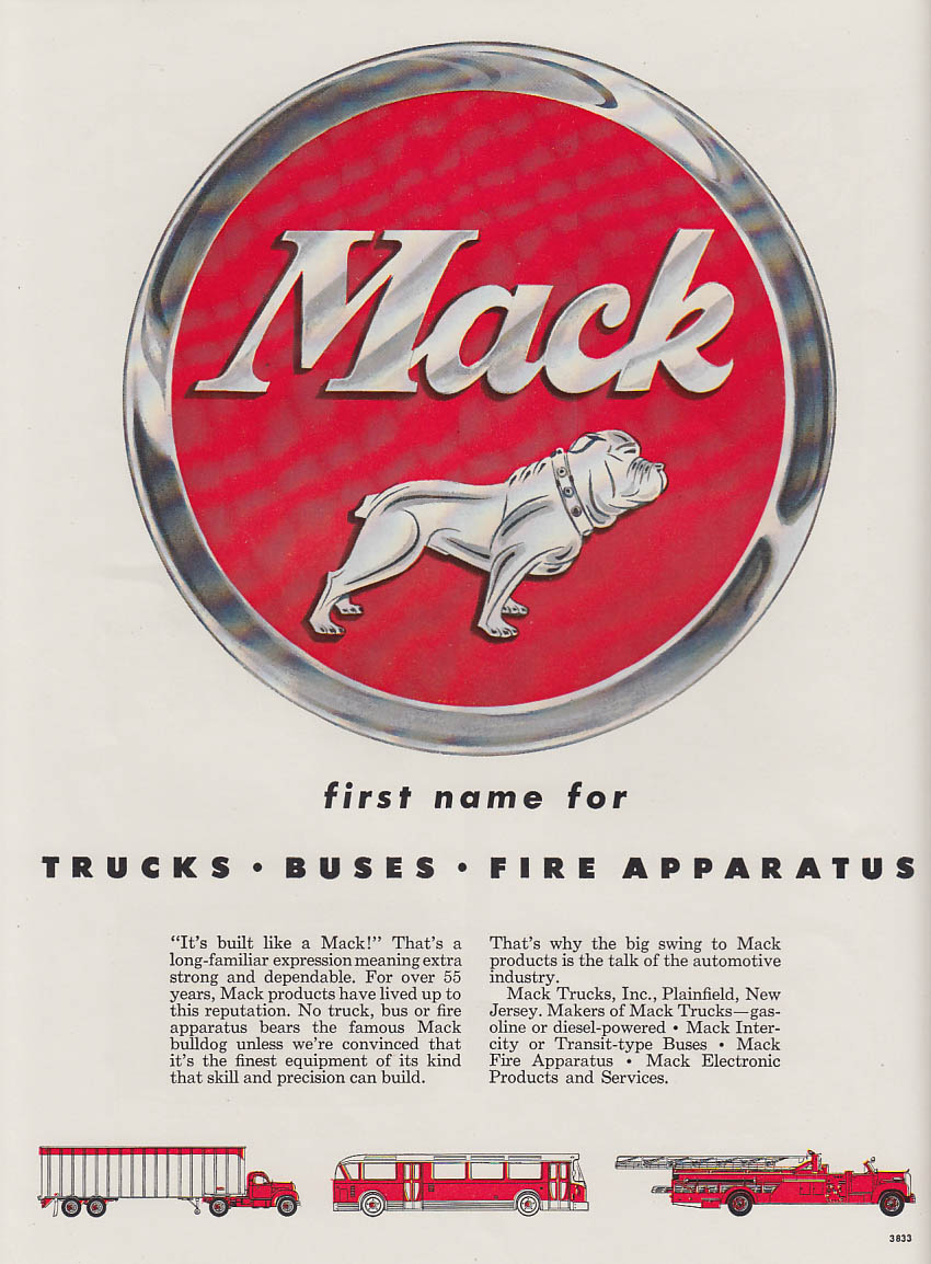 First name for Trucks Buses Fire Apparatus- Mack ad 1957 ChiAS