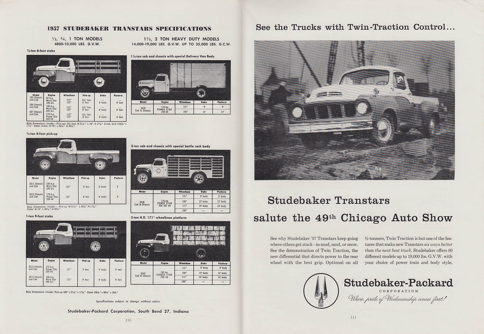 Studebaker Transtar Trucks salute the Chicago Auto Show Program 1957 ad