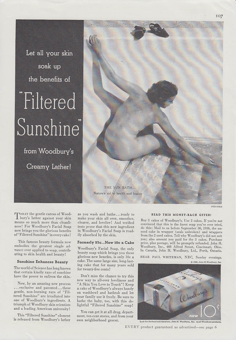 Filtered Sunshine from Woorbury Soap's Creamy Lather ad 1936 Steichen nude