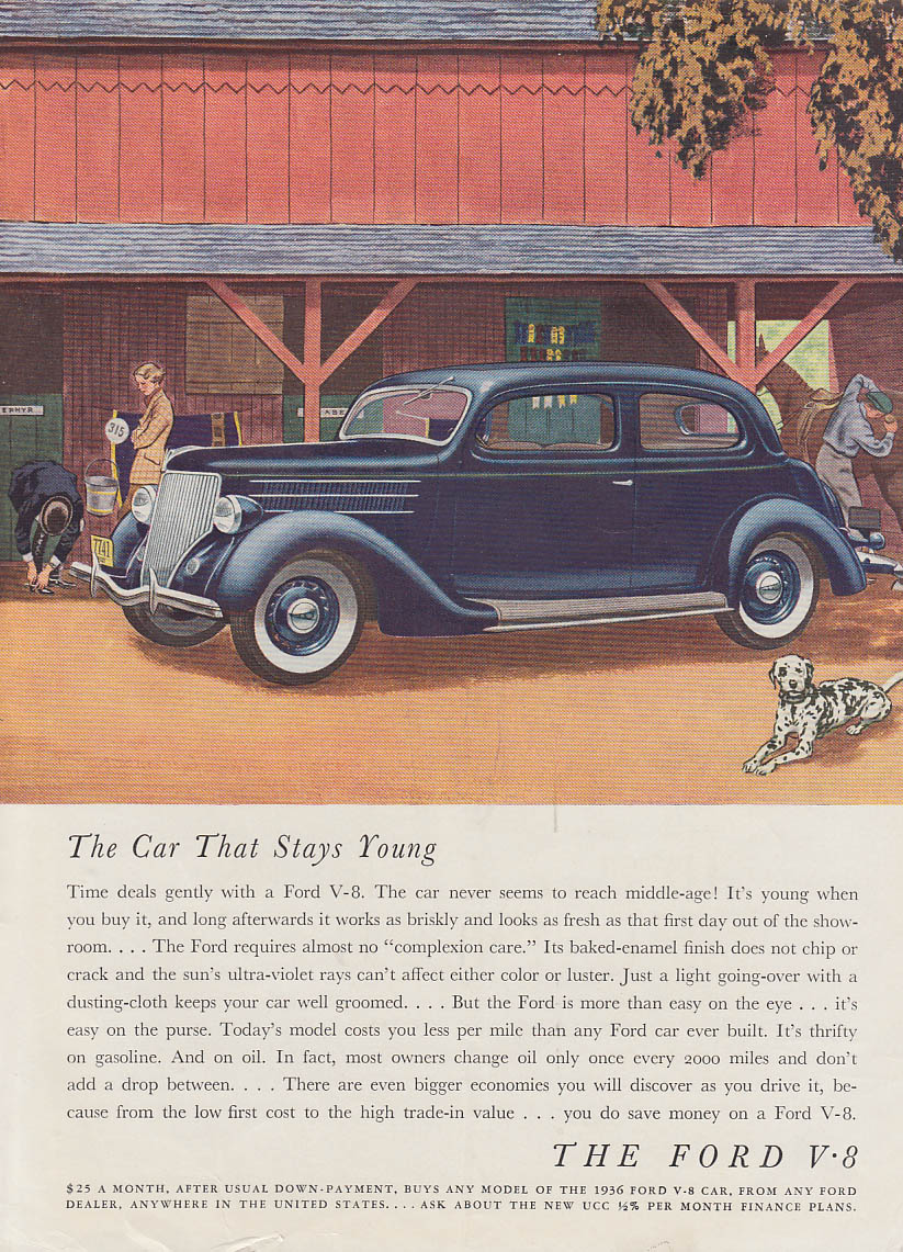 The Car That Stays Young - Ford V-8 Tudor ad 1936 GH