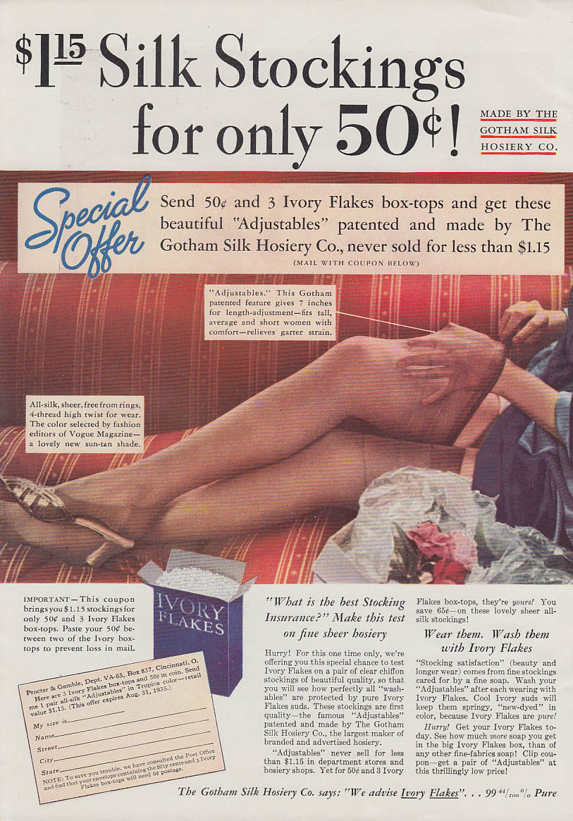 $1.15 Silk Stockings for only 50c by Gotham Silk Hosiery Company ad 1935