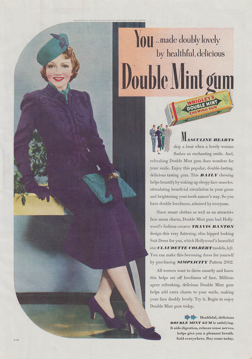Claudette Colbert in Travis Banton outfit for Wrigley's Double Mint Gum ad 1938