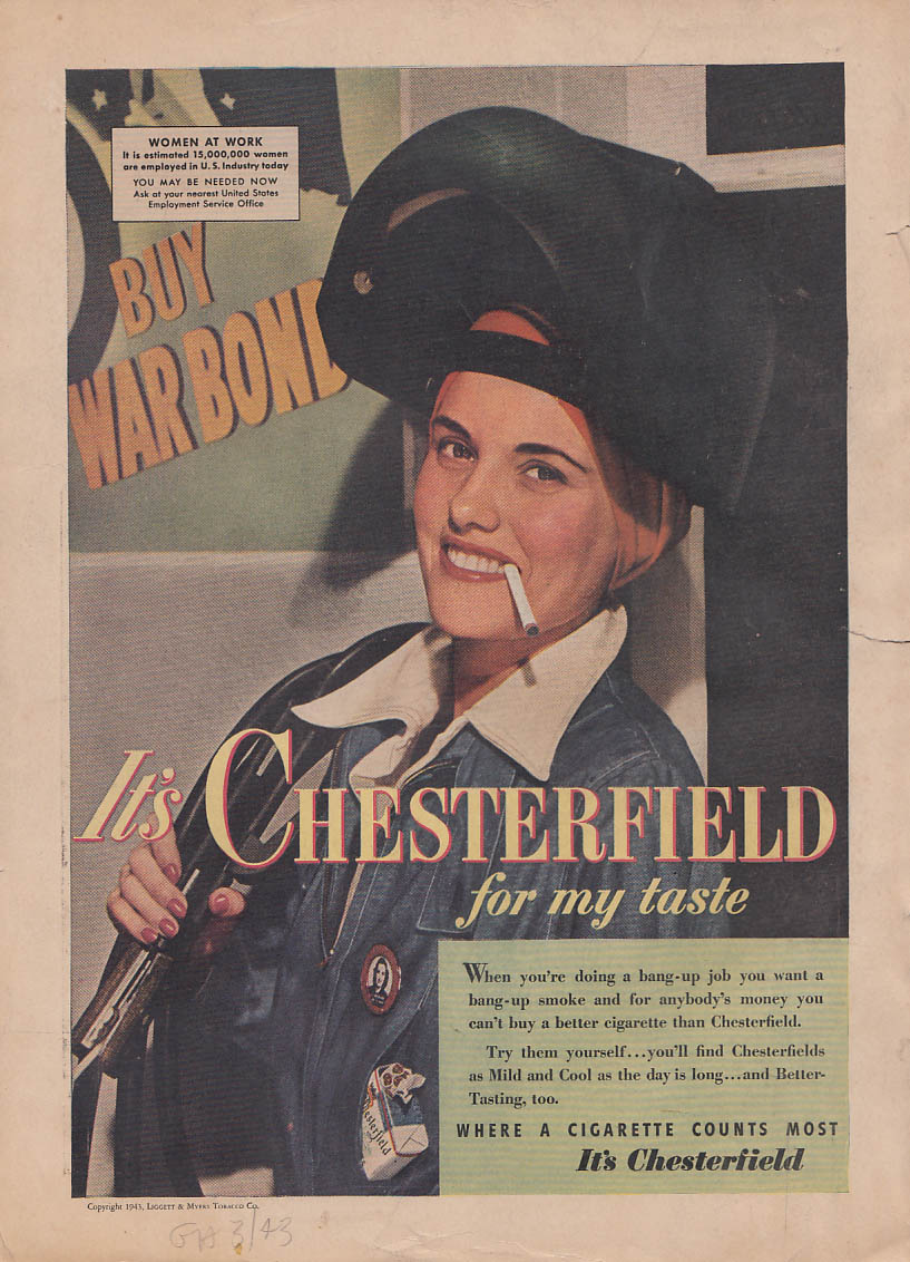 How a Woman Fights Nash Lancaster Bomber / Rose Riveter Chesterfield ad 1943