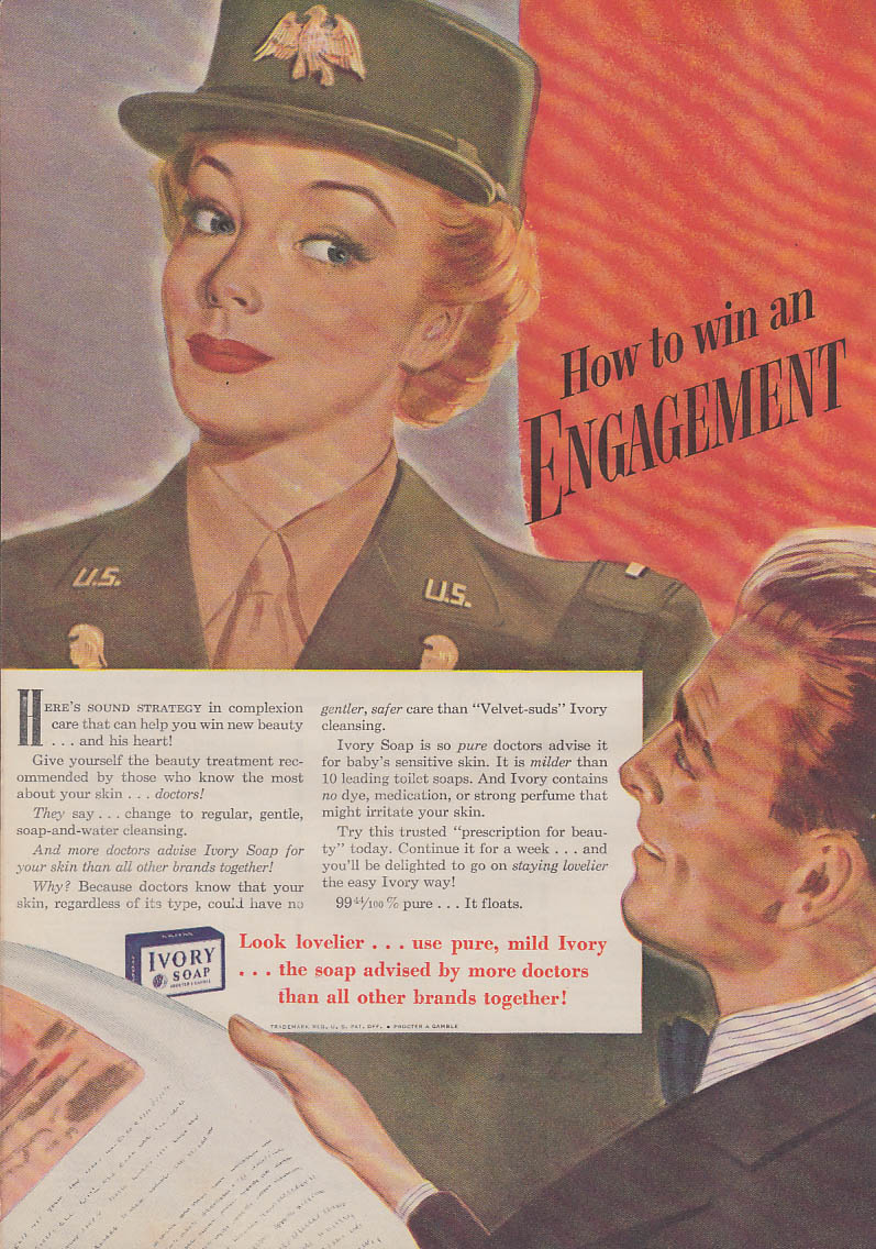 How to iwn an engagement US Army WAC for Ivory Soap ad 1943