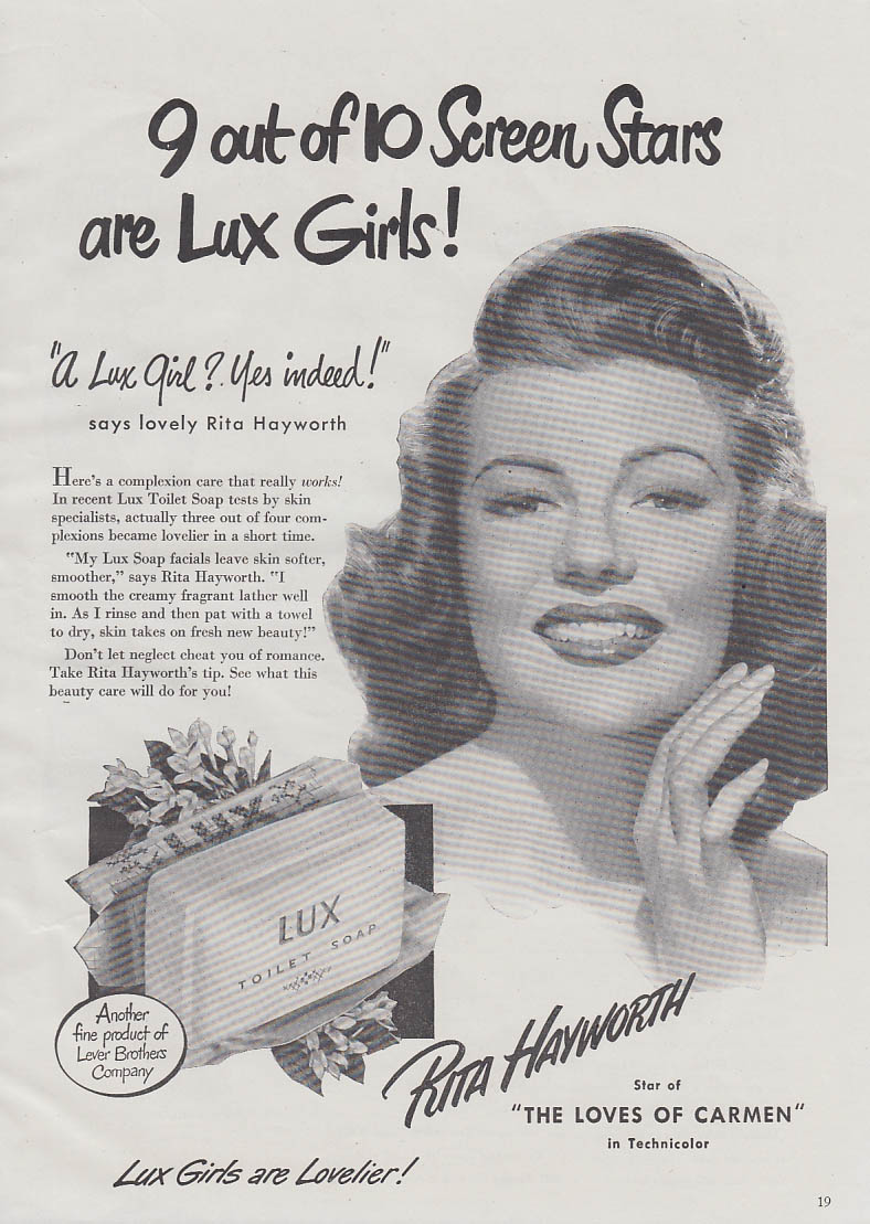 Rita Hayworth in The Loves of Carmen for Lux Toilet Soap ad 1948 GH
