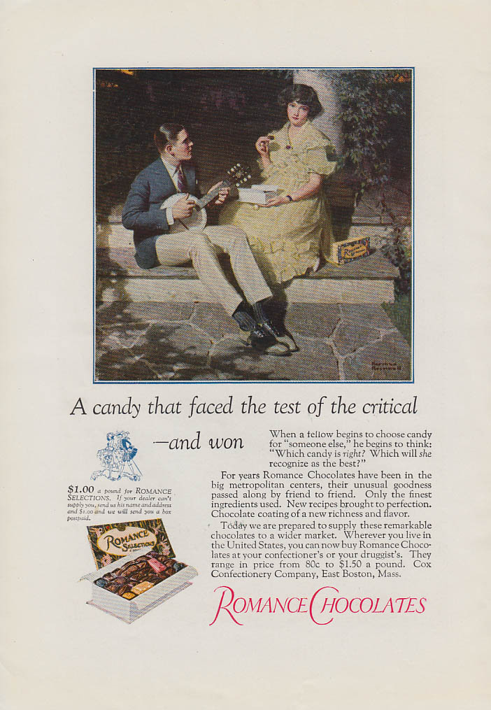 A candy that faced the test Romance Chocolates ad 1923 Norman Rockwell art