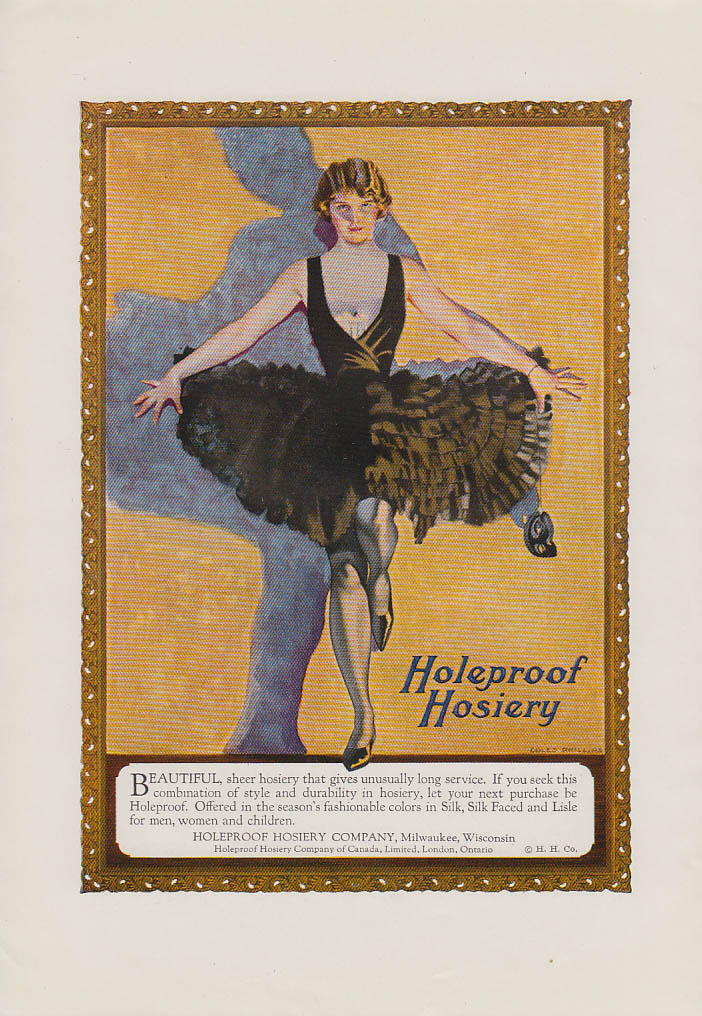 Beautiful Sheer Holeproof Hosiery ad 1923 Coles Phillips pin-up