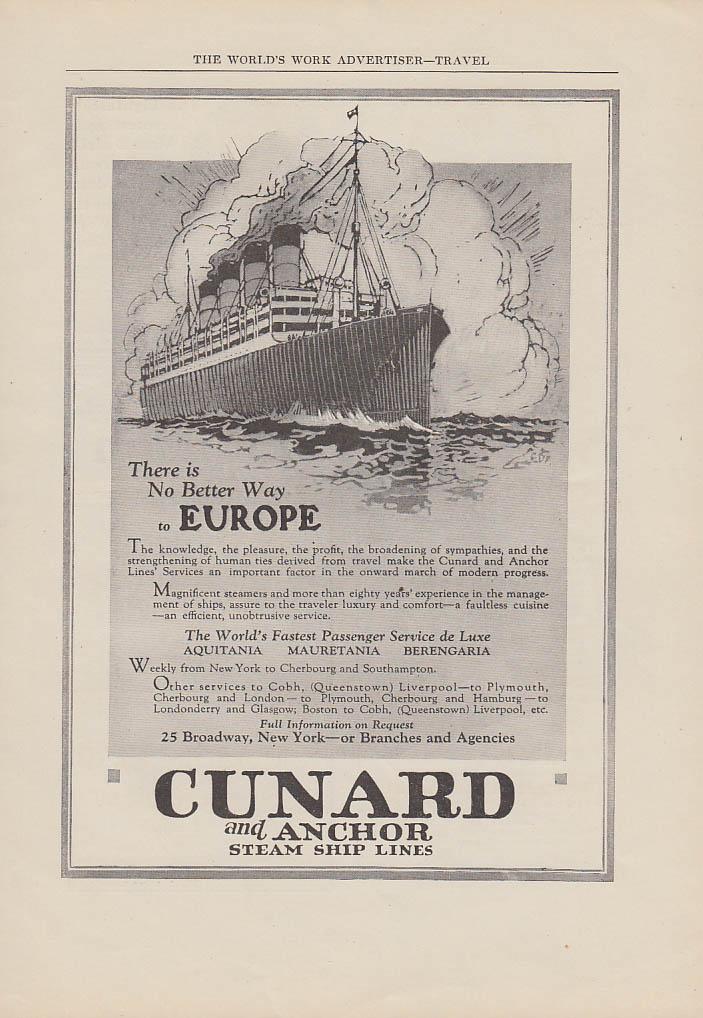 There is a better way to Europe Cunard Aquitania Mauretania Berengaris ad 1923