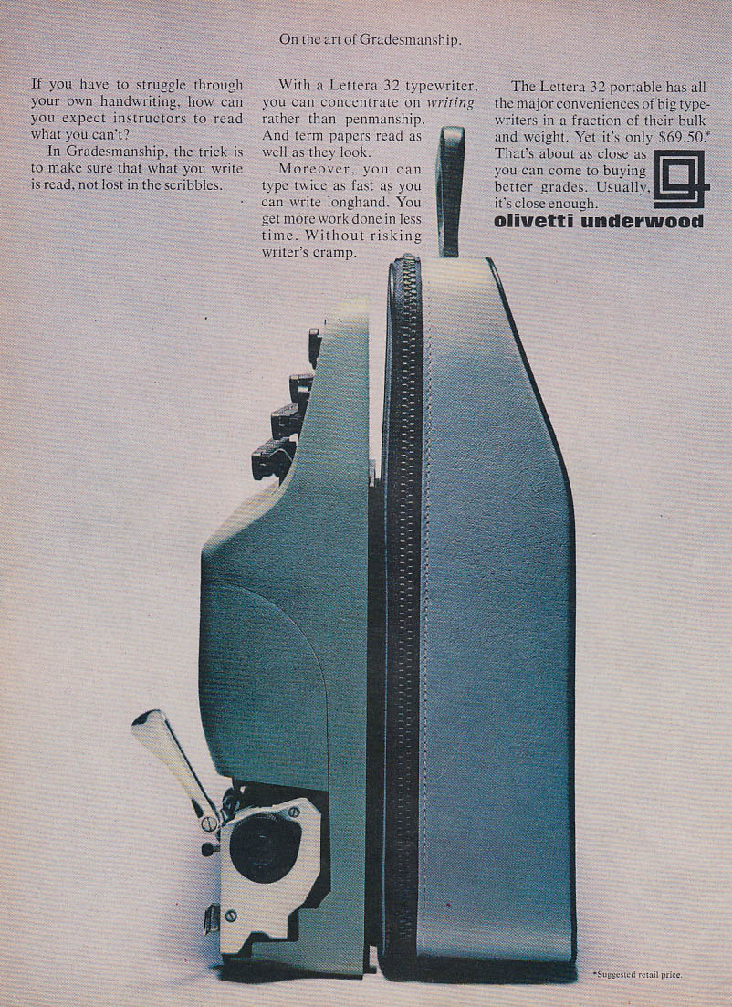 On the art of Gradesmanship Olivetti Underwood Typewriter MAGAZINE ad 1967